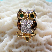 Tiny Enamel & Rhinestone Owl Pin / Tie Tack