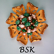 REDUCED BSK Faux Pearl, Jade & Diamante Brooch