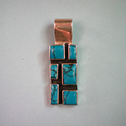 Silver Abstract Turquoise Pendant