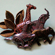 Mixed Metal African Animal Pin