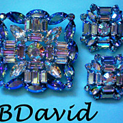 Exquisite B David Aurora Borealis Brooch & Clip Earrings