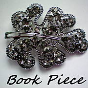 REDUCED Book Piece - Gun Metal & Gray Rhinestone Brooch