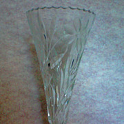 REDUCED Crystal  Trumpet Vase with Floral Design