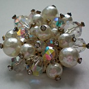 REDUCED Dazzling Faux Blister Pearl and AB Beaded Brooch