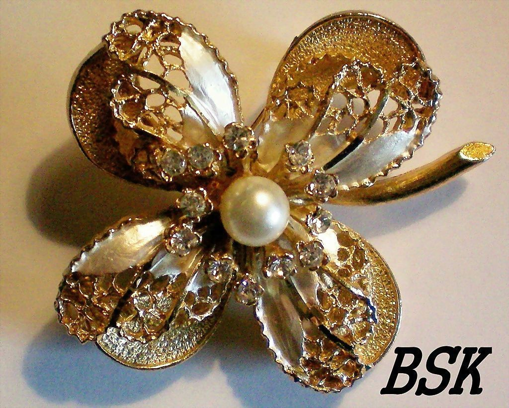 Signed BSK Multi Layered Brooch