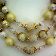 REDUCED Triple Strand Wedding Cake Glass Bead Necklace