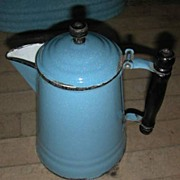 Blue Granite Ware Wood Handled Coffee Pot