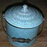 Blue speckled Graniteware Stove Pot w/ Cover