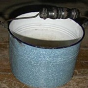 Blue Speckled Graniteware Lunch Pail no lid