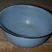 "Small 8"" Blue Graniteware Nesting mixing Bowl"