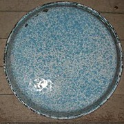 "91/2"" by 1"" Blue Graniteware Plate"