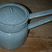 Blue Speckled Graniteware Double Boiler