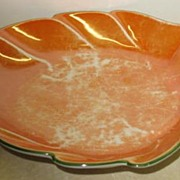 Orange and Green Czech Leaf Candy Dish