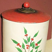 Floral Painted Yellow-ware Cookie Jar Red Top