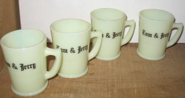 Set of 4 McKee Custard Glass Tom & Jerry Mugs