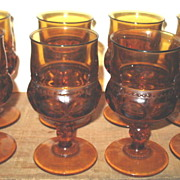 Set 8 Amber Kings Crown #77 Thumbprint Stemmed Goblets