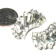 Prong Set  Unmarked, Clip on Rhinestone Earrings