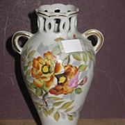 REDUCED Ucago China Hand Painted Pottery 2 Handled Vase with Azaelias