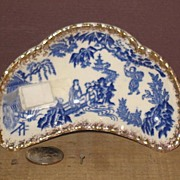 REDUCED Very Small Unmarked Blue and White Bone Dish