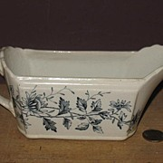 "REDUCED Blue Transfer Ware Gravy Boat ""Fairy"" Pattern AF & Co"