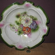 Unmarked Very Heavy Serving Bowl With Flowers