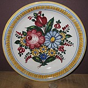 Hand Painted Marked Czechoslovakia Pottery Hanging Wall Bowl