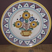 Hand Painted Czechoslovakian Pottery Decorative Wall Plate