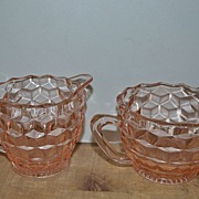 SALE Pink depression Cubist Sugar and Creamer Set