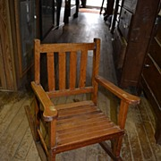 SALE Mission Style Oak Slat Back and Seat Child's Rocking Chair