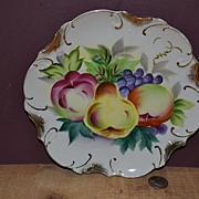 SALE Hand Painted Wall Plate with Fruit and 22K Fired on Gold Trim