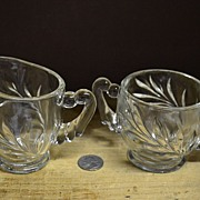 Set of Creamer and Sugar in Willow Pattern By Indiana