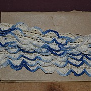 SALE Blue Variegated Pillow Case Lace Edging.