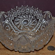 SALE Heavy Crystal Bowl with Pinwheel Decoration