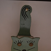 SALE Folk Art Home Made Green Painted Cat Match Box Holder
