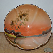 SALE Noritake 3 Footed Sauce Bowl with a Hand Painted Interior Scene