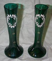 Pair of Victorian Vases, Hand blown, Enameled,