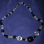 Necklace and earings (black &clear glass)