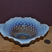 Lilac Blue Opalescent Hobnail Footed Closed Handled Bowl