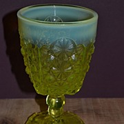 Daisy and Button with Thumbprint Vaseline Opalescent Stem Goblet