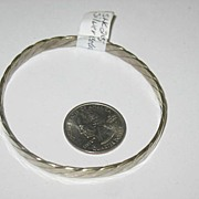 Marked Taxco Silver-color Over Brass Bangle Bracelet