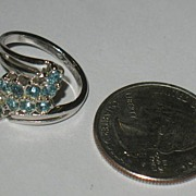Marked 18kt GE Ring with Baby Blue Rhinestones