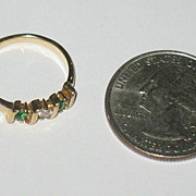 Marked Korea Gold-Colored Ring with Rhinestones