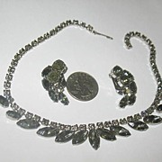 Prong Set Smokey Grey Rhinestones Necklace and Earrings