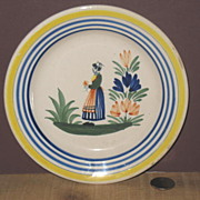 Hand Painted marked Quimper Plate