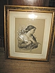 Signed L.C. Dunnels Charcoal Chalk Lady Portrait