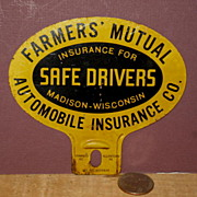 Farmer's Mutual  Auto  Insurance License Plate Attachment