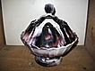 Purple Slag Glass Covered Compote Flute Pattern