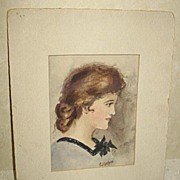 Water Color Lady Portrait by Listed Artist E. Hoopes