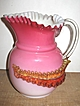 Art Glass Cased Peach Blow Pitcher w/Acanthus Leaves