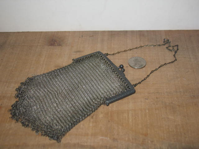Wire Mesh Purse with Silver-plate Frame